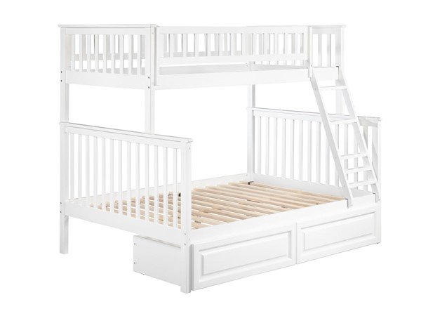 Atlantic Furniture Woodland White Raised Panel Drawers Twin Over Full Bunk Bed AB56222
