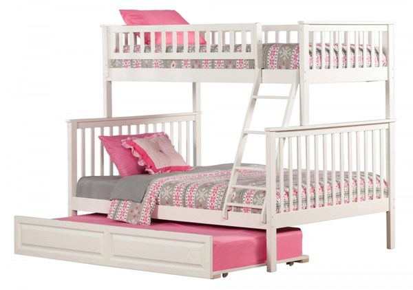 Woodland White Wood Twin/Full Raised Panel Trundle Bunk Bed AB56232