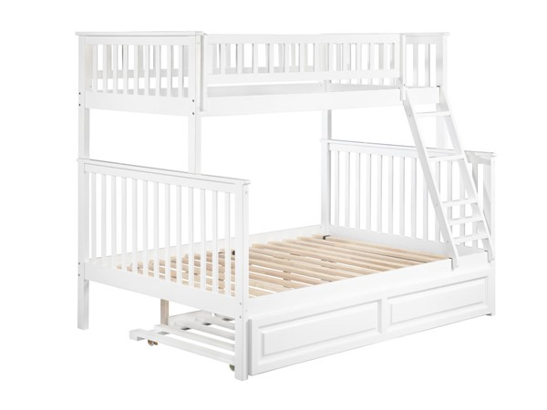 Atlantic Furniture Woodland White Raised Panel Trundle Twin Over Full Bunk Bed AB56232