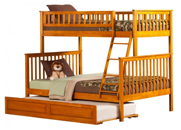 Woodland Caramel Latte Twin/Full Raised Panel Trundle Bunk Bed AB56237