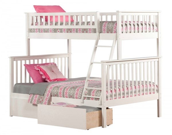Woodland White Wood Twin/Full Urban Drawers Bunk Bed AB56242