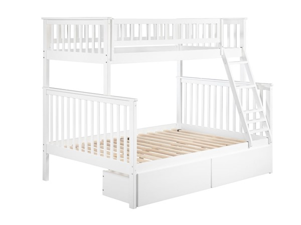 Atlantic Furniture Woodland White Twin Over Full Urban Drawers Bunk Bed AB56242