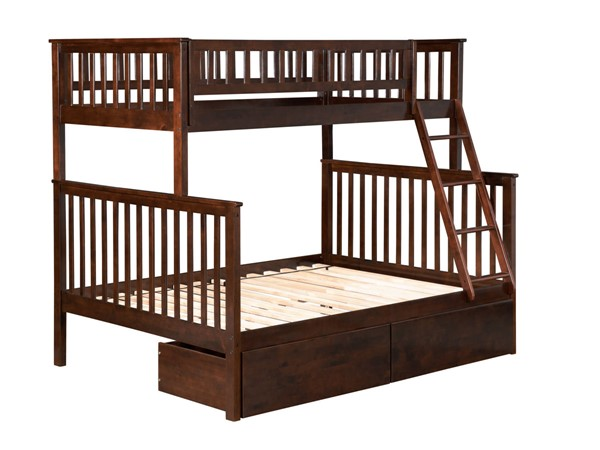 Atlantic Furniture Woodland Walnut Twin Over Full Urban Drawers Bunk Bed AB56244