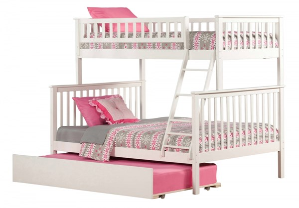 Woodland White Wood Twin/Full Urban Trundle Bunk Bed AB56252