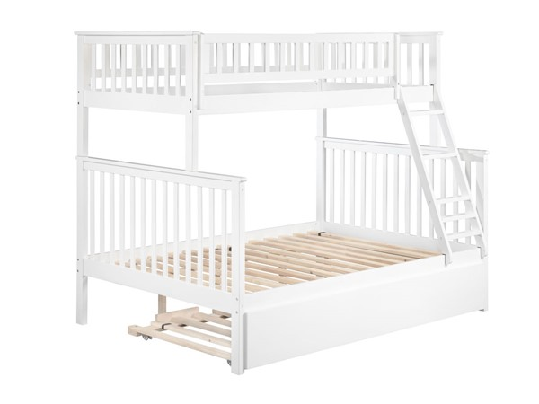 Atlantic Furniture Woodland White Wood Twin Over Full Urban Trundle Bunk Bed AB56272