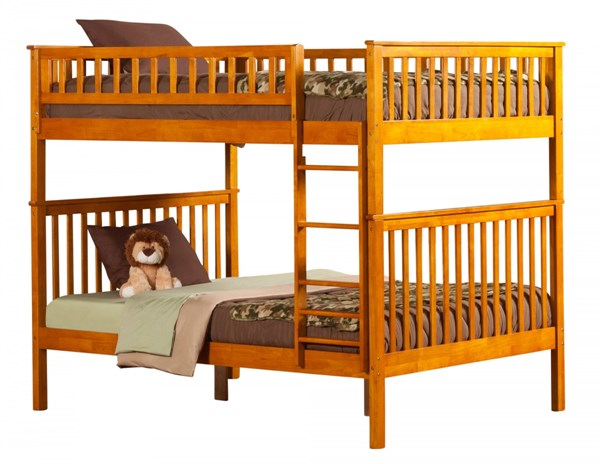 Woodland Caramel Latte Wood Full/Full Built In Ladder Bunk Bed AB56507