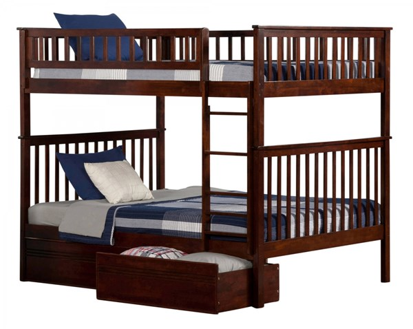 Woodland Walnut Wood Full/Full Flat Panel Drawers Bunk Bed AB56514