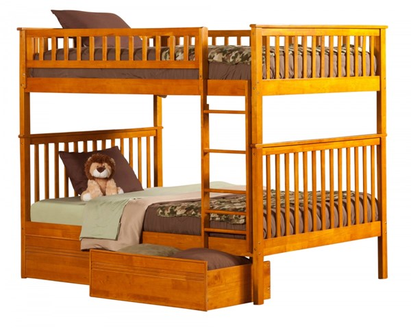Woodland Caramel Latte Wood Full/Full Flat Panel Drawers Bunk Bed AB56517