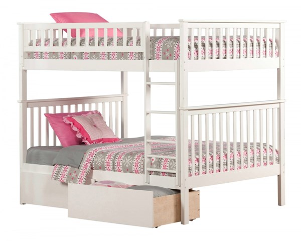 Woodland White Wood Full/Full Urban Drawers Bunk Bed AB56542