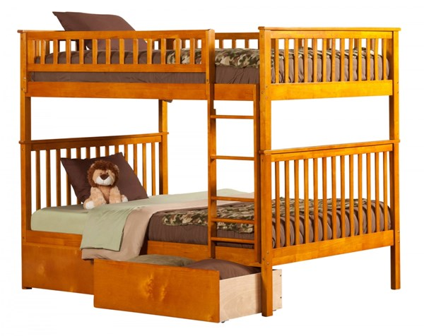 Woodland Caramel Wood Latte Full/Full Urban Drawers Bunk Bed AB56547
