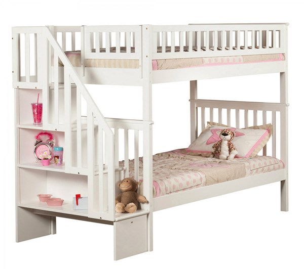 Atlantic Furniture Woodland White Staircase Bunk Beds AB56-02-04-07-BB-VAR