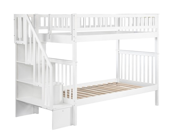 Atlantic Furniture Woodland White Twin Over Twin Staircase Bunk Bed AB56602