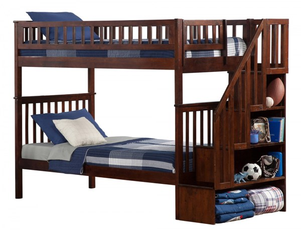 Woodland Walnut Wood Staircase Twin/Twin Bunk Bed AB56604