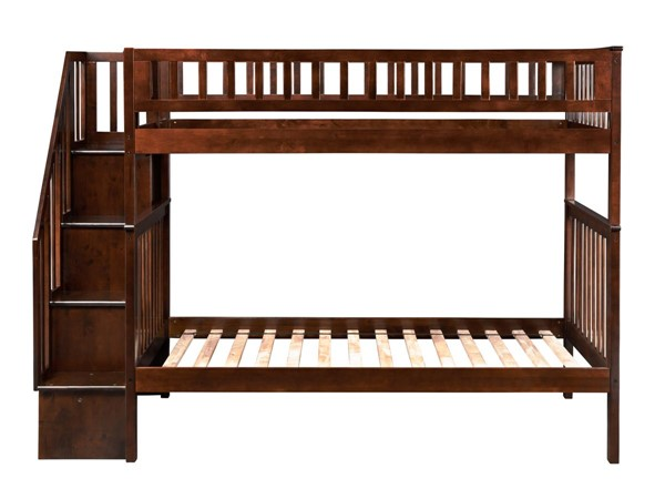 Atlantic Furniture Woodland Walnut Twin over Twin Staircase Bunk Bed AB56604