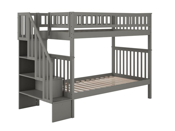 Atlantic Furniture Woodland Grey Staircase Twin Over Twin Bunk Bed AB56609