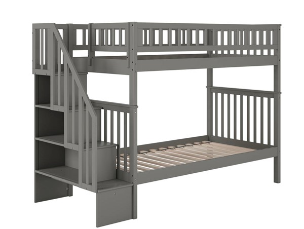 Atlantic Furniture Woodland Grey Staircase Twin Over Twin Bunk Beds AB5660-BB-VAR
