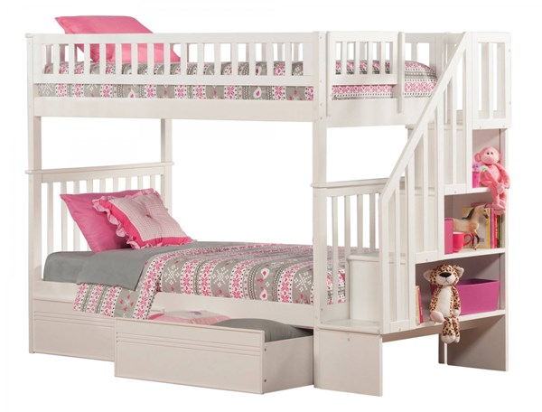 Atlantic Furniture Woodland White Flat Panel Drawers and Staircase Twin Over Twin Bunk Bed AB56612