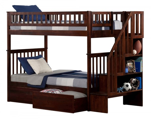Woodland Walnut Staircase Twin/Twin Flat Panel Drawers Bunk Bed AB56614