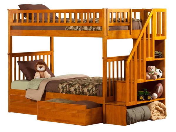 Woodland Caramel Latte Staircase Twin/Twin Flat Panel Drawers Bunk Bed AB56617