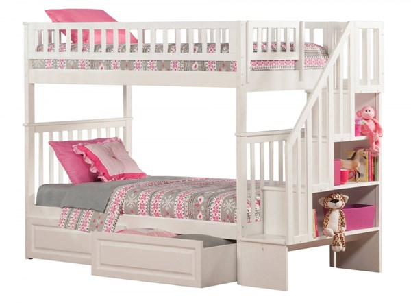 Woodland White Staircase Twin/Twin Raised Panel Drawers Bunk Bed AB56622