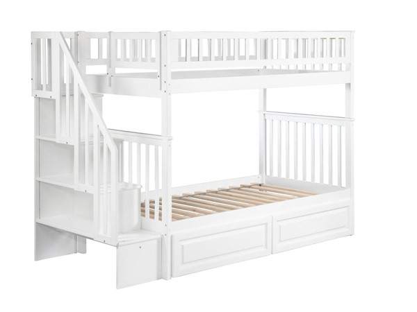 Atlantic Furniture Woodland White Raised Panel Drawers and Staircase Twin Over Twin Bunk Bed AB56622