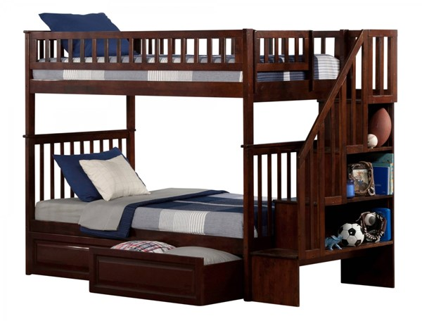 Woodland Walnut Staircase Twin/Twin Raised Panel Drawers Bunk Bed AB56624