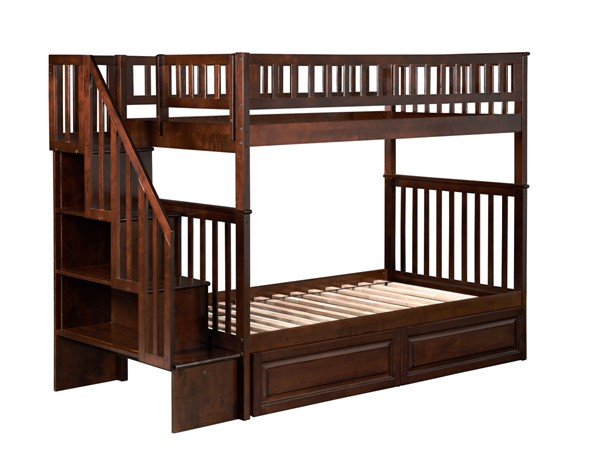 Atlantic Furniture Woodland Walnut Twin over Twin Staircase Bunk Bed with 2 Raised Panel Bed Drawers AB56624