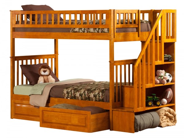 Woodland Caramel Staircase Twin/Twin Raised Panel Bed Drawers Bunk Bed AB56627