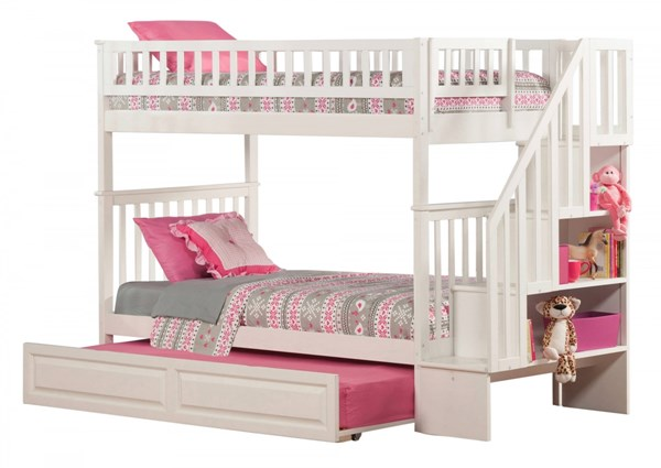 Woodland White Wood Staircase Twin/Twin Raised Panel Trundle Bunk Bed AB56632
