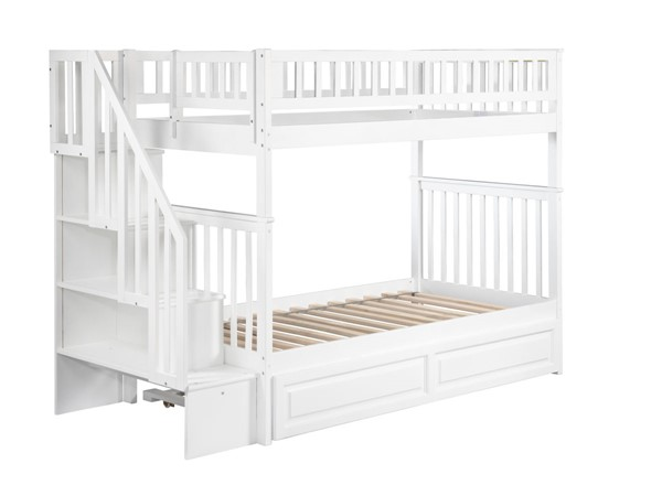 Atlantic Furniture Woodland White Raised Panel Trundle and Staircase Twin Over Twin Bunk Bed AB56632