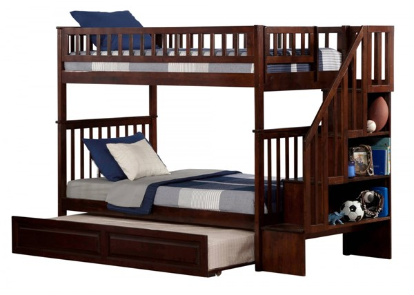 Woodland Walnut Staircase Twin/Twin Raised Panel Trundle Bunk Bed AB56634