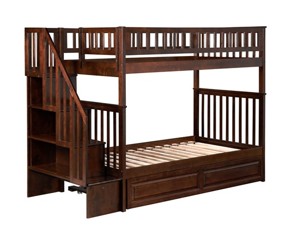 Atlantic Furniture Woodland Walnut Twin over Twin Staircase Bunk Bed with Twin Raised Panel Trundle AB56634