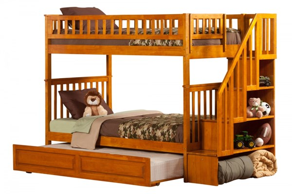 Woodland Caramel Staircase Twin/Twin Raised Panel Trundle Bunk Bed AB56637