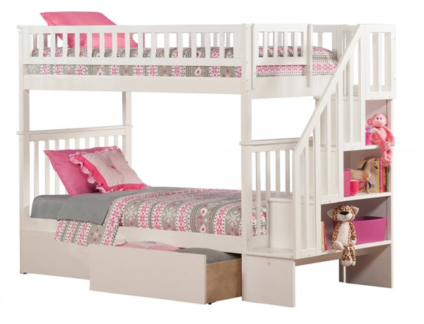 Woodland White Wood Staircase Twin/Twin Urban Drawers Bunk Bed AB56642