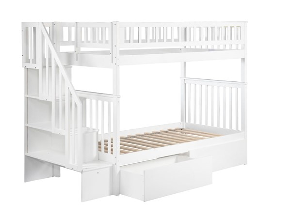 Atlantic Furniture Woodland White Urban Drawers and Staircase Twin Over Twin Bunk Bed AB56642