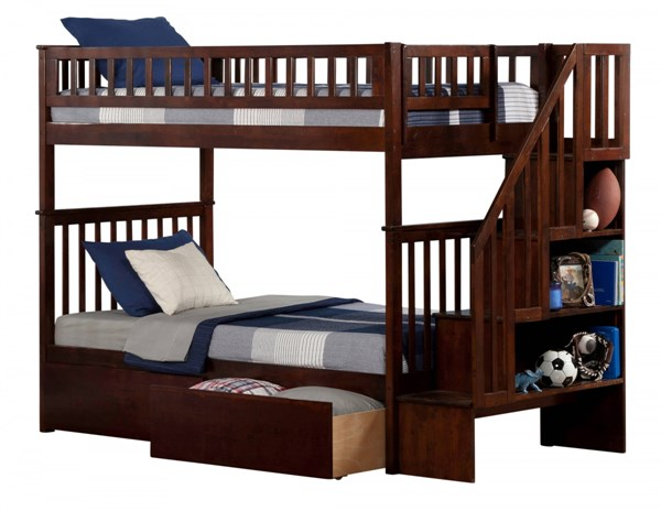 Woodland Walnut Staircase Twin/Twin Urban Drawers Bunk Bed AB56644