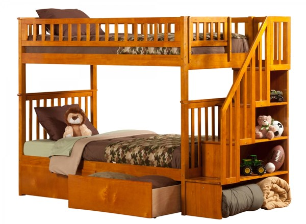 Woodland Caramel Latte Staircase Twin/Twin Urban Drawers Bunk Bed AB56647