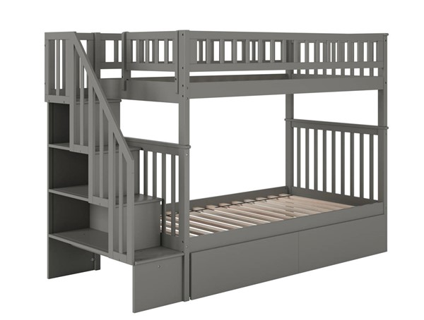 Atlantic Furniture Woodland Grey Staircase Twin Over Twin 2 Urban Drawers Bunk Bed AB56649