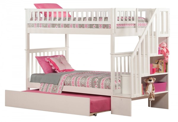 Woodland White Wood Staircase Twin/Twin Urban Trundle Bunk Bed AB56652