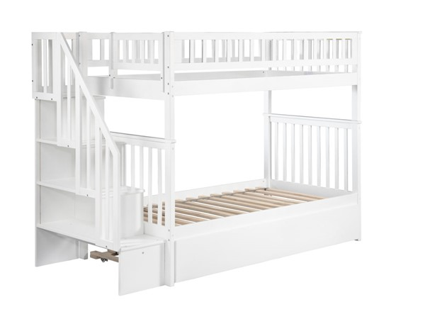 Atlantic Furniture Woodland White Urban Trundle and Staircase Twin Over Twin Bunk Bed AB56652