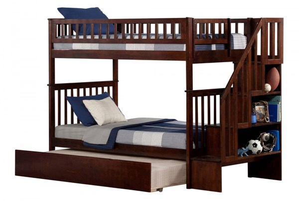 Woodland Walnut Staircase Twin/Twin Urban Trundle Bunk Bed AB56654