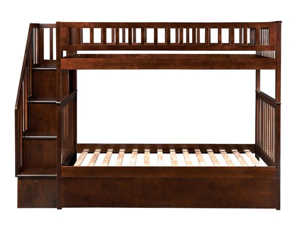 Atlantic Furniture Woodland Walnut Twin over Twin Staircase Bunk Bed with Twin Urban Trundle AB56654