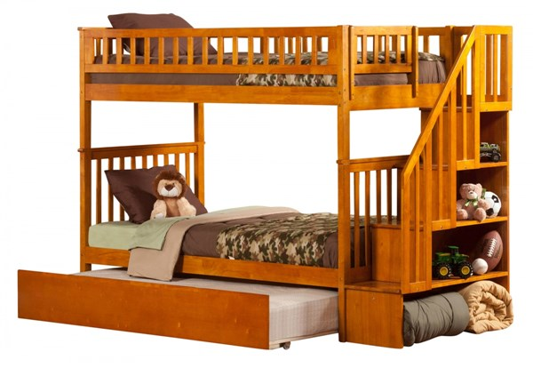 Woodland Caramel Latte Staircase Twin/Twin Urban Trundle Bunk Bed AB56657