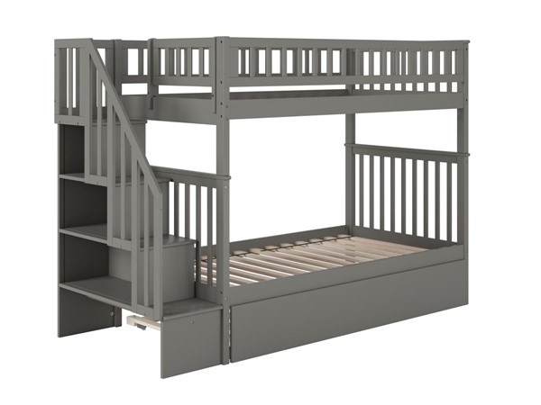 Atlantic Furniture Woodland Grey Staircase Twin Over Twin Urban Trundle Bunk Bed AB56659