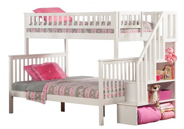 Woodland White Wood Staircase Twin/Full Bunk Bed AB56702