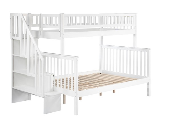 Atlantic Furniture Woodland White Twin Over Full Staircase Bunk Bed AB56702