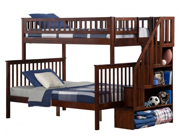 Woodland Walnut Wood Staircase Twin/Full Bunk Bed AB56704