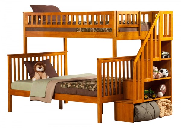 Atlantic Furniture Woodland Caramel Latte Twin Over Full Staircase Bunk Bed AB56707