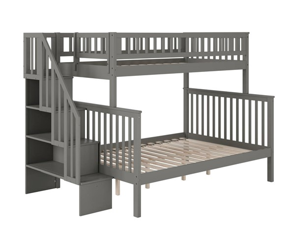 Atlantic Furniture Woodland Grey Staircase Twin Over Full Bunk Bed AB56709