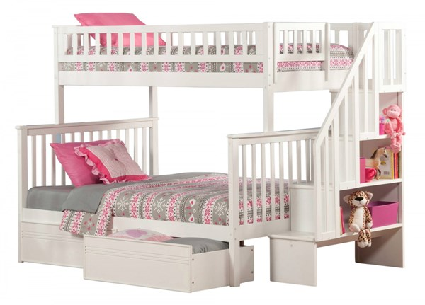 Woodland White Wood Staircase Twin/Full Flat Panel Drawers Bunk Bed AB56712